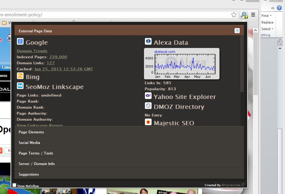 SEO site tool window