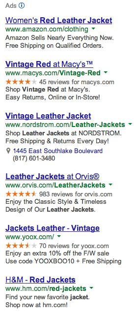 Vintage Red Leather Jacket Google Ads - Column