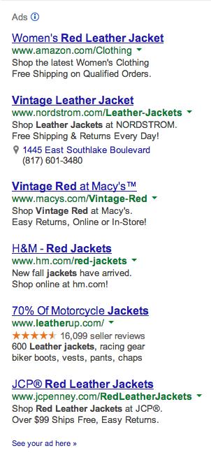 Vintage Leather Jacket in Red Google Ads - Column